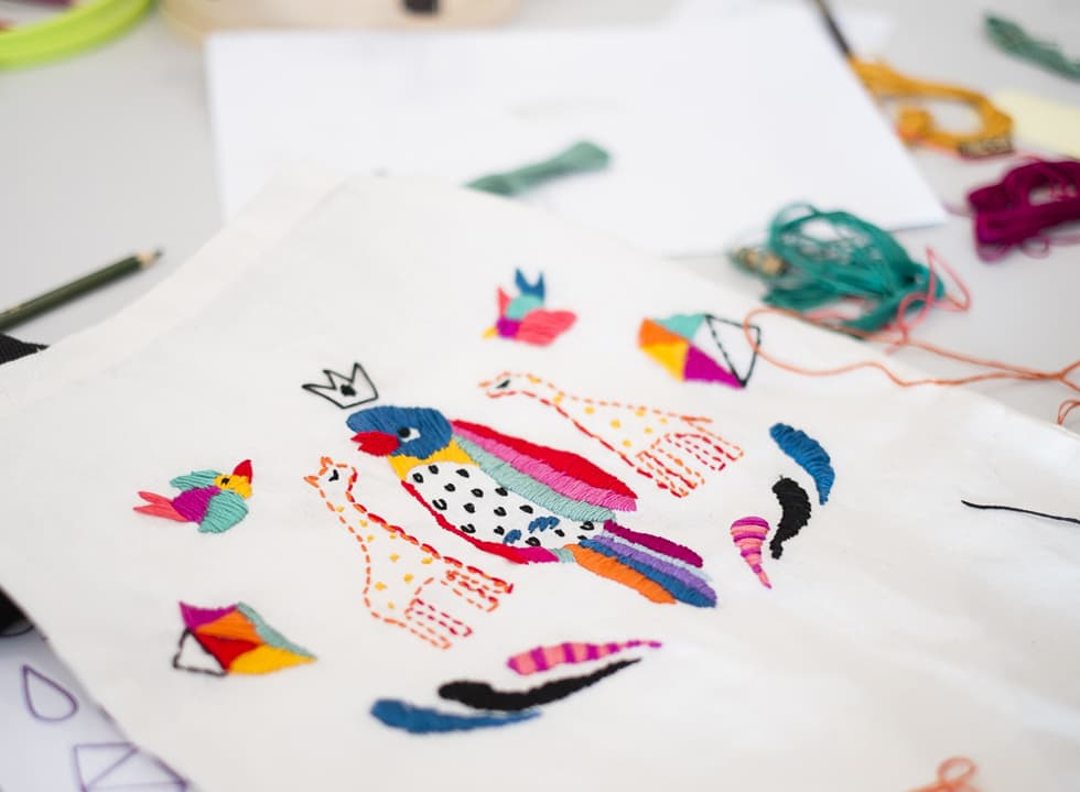 Embroidered Illustration on Totes with Diela Maharanie